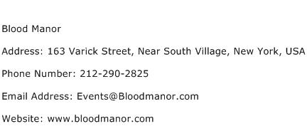 Blood Manor Address Contact Number