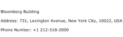 Bloomberg Building Address Contact Number