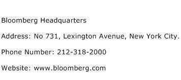 Bloomberg Headquarters Address Contact Number