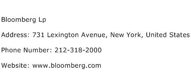Bloomberg Lp Address Contact Number