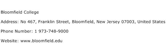 Bloomfield College Address Contact Number