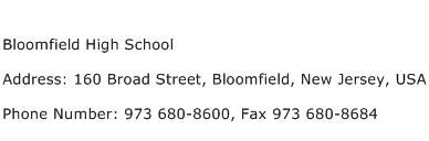 Bloomfield High School Address Contact Number