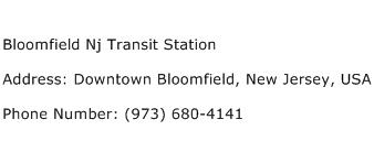 Bloomfield Nj Transit Station Address Contact Number
