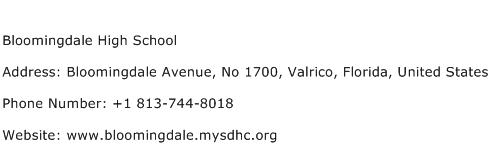 Bloomingdale High School Address Contact Number