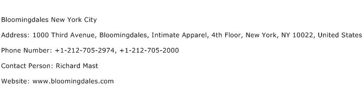 Bloomingdales New York City Address Contact Number