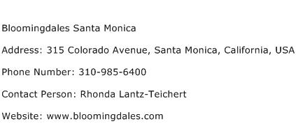 Bloomingdales Santa Monica Address Contact Number