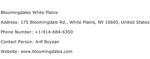 Bloomingdales White Plains Address Contact Number