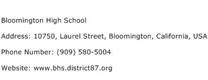 Bloomington High School Address Contact Number
