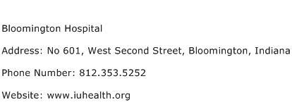 Bloomington Hospital Address Contact Number