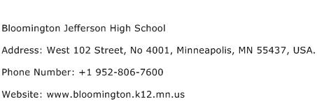 Bloomington Jefferson High School Address Contact Number