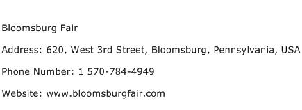 Bloomsburg Fair Address Contact Number