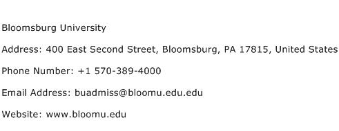 Bloomsburg University Address Contact Number