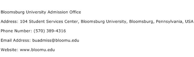 Bloomsburg University Admission Office Address Contact Number
