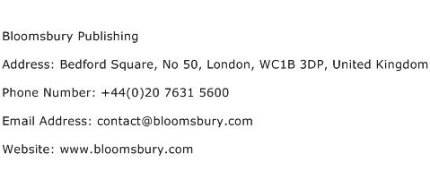 Bloomsbury Publishing Address Contact Number