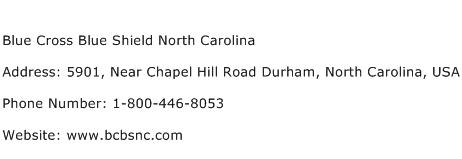 Blue Cross Blue Shield North Carolina Address Contact Number