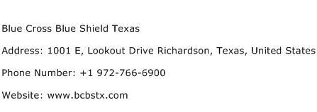Blue Cross Blue Shield Texas Address Contact Number