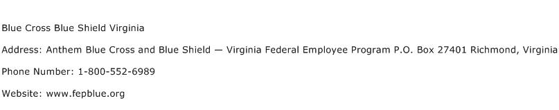 Blue Cross Blue Shield Virginia Address Contact Number