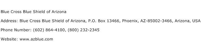 Blue Cross Blue Shield of Arizona Address Contact Number