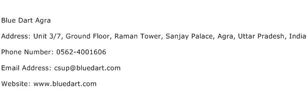 Blue Dart Agra Address Contact Number