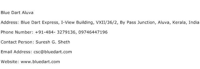 Blue Dart Aluva Address Contact Number