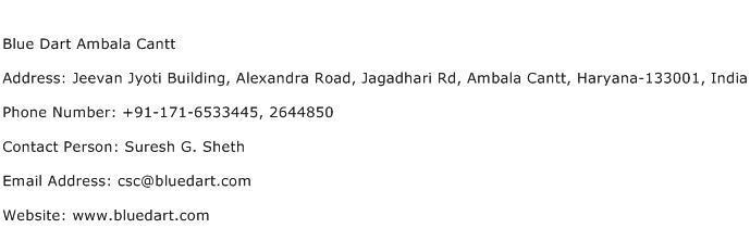 Blue Dart Ambala Cantt Address Contact Number