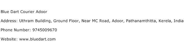 Blue Dart Courier Adoor Address Contact Number