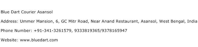 Blue Dart Courier Asansol Address Contact Number