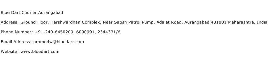Blue Dart Courier Aurangabad Address Contact Number