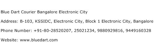 Blue Dart Courier Bangalore Electronic City Address Contact Number
