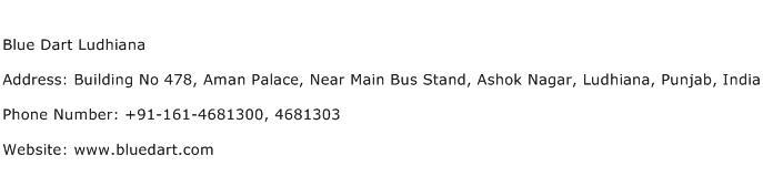Blue Dart Ludhiana Address Contact Number