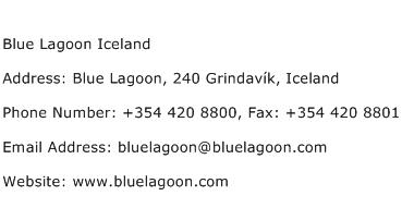 Blue Lagoon Iceland Address Contact Number