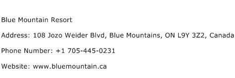 Blue Mountain Resort Address Contact Number