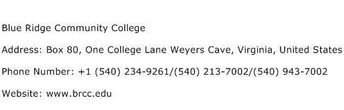 Blue Ridge Community College Address Contact Number