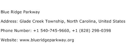Blue Ridge Parkway Address Contact Number