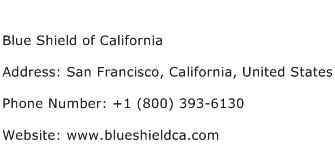 Blue Shield of California Address Contact Number