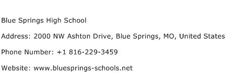 Blue Springs High School Address Contact Number