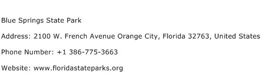 Blue Springs State Park Address Contact Number