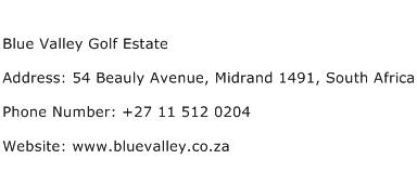 Blue Valley Golf Estate Address Contact Number