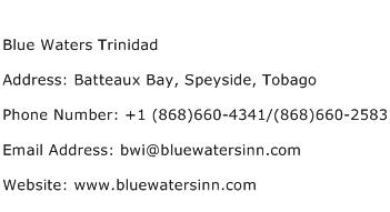 Blue Waters Trinidad Address Contact Number