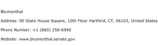 Blumenthal Address Contact Number