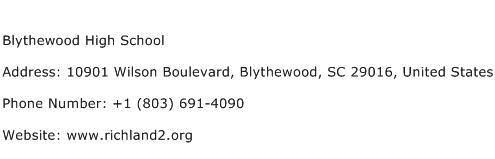 Blythewood High School Address Contact Number