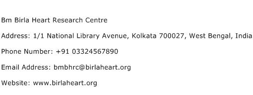 Bm Birla Heart Research Centre Address Contact Number