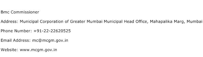 Bmc Commissioner Address Contact Number