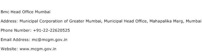 Bmc Head Office Mumbai Address Contact Number