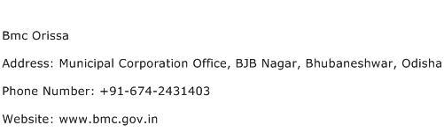 Bmc Orissa Address Contact Number