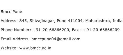 Bmcc Pune Address Contact Number