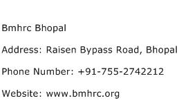 Bmhrc Bhopal Address Contact Number