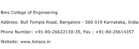 Bms College of Engineering Address Contact Number
