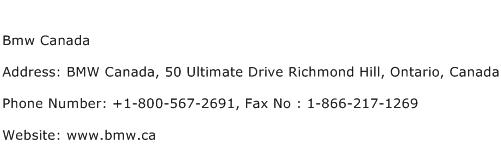 Bmw Canada Address Contact Number