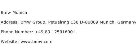 Bmw Munich Address Contact Number